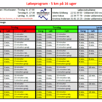 Løbeprogram 16 Uger 2018
