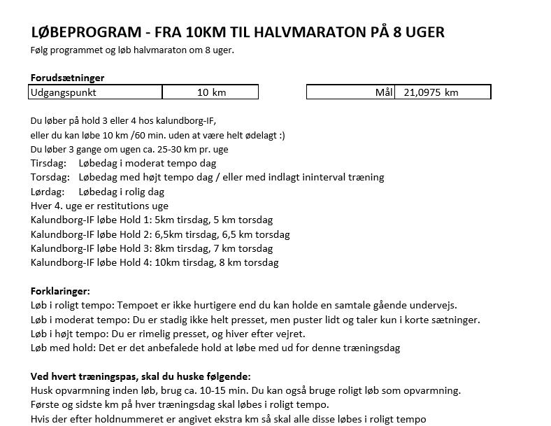 Løbeprogram – Fra 10 Km Til Halvmaraton På 8 Uger