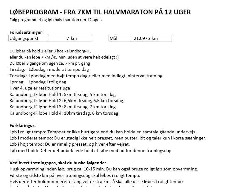Løbeprogram – Fra 7 Km Til Halvmaraton På 12 Uger